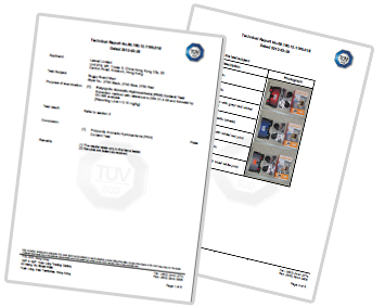 Buggyboard maxi and mini test certificate from TUV